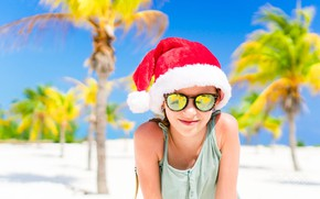 Picture sea, beach, palm trees, mood, stay, shore, coast, Christmas, girl, New year, resort, sunglasses, blue …