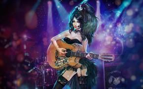 Picture Girl, Music, Guitar, Rock, Art, Rock, Guitar, Katie, Characters, Alexandra Cvetkova, The Merman & the …