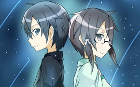 Picture anime, art, Background, Two, Sword Art Online, Kirito, Sinon, Starry sky
