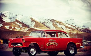 Picture Chevrolet, Red, Bel Air, Race car, Modified