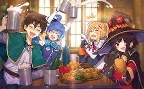 Picture table, girls, food, guy, drinks, Darkness, Aqua, Kazuma Satou, Megumin, Goddess Bless This Beautiful World