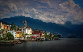 Picture clouds, mountains, lake, building, home, Switzerland, Alps, Church, Switzerland, Alps, Maggiore, Lake Maggiore, Brissago, Brissago, …