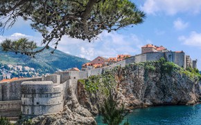 Picture the sky, the sun, clouds, trees, mountains, branches, stones, wall, rocks, shore, home, Bay, Croatia, …