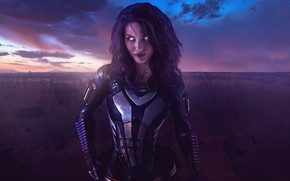 Picture rock, mass effect, clouds, sun, canyon, malena morgan, suit, armour, tali zorah, rannoch