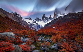 Picture autumn, the sky, trees, mountains