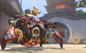 Picture robot, hamster, Overwatch, Wrecking Ball