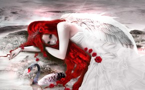 Picture girl, roses, Swan, photoart
