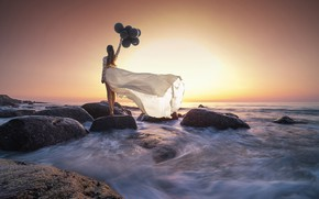 Picture sea, the sky, girl, balls, sunset, stones, the wind, back