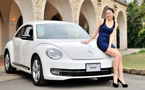 Picture look, smile, Girls, Asian, beautiful girl, Volkswagen Beetle, white car, posing on the car
