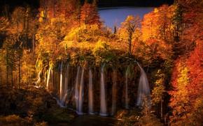 Picture autumn, forest, trees, lake, waterfall, cascade, Croatia, Croatia, Plitvice Lakes National Park, Galovac Waterfall, Waterfall …