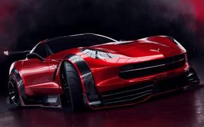 Picture Auto, Corvette, Machine, Car, Rendering, Stingray, Corvette Stingray, The front, Sports car, Transport & Vehicles, …