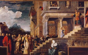 Picture clouds, Titian Vecellio, The introduction of the virgin Mary into the temple, between 1534 and …