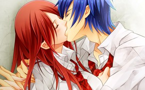 Picture girl, romance, kiss, anime, art, guy, two, Fairy Tail, Fairy tail