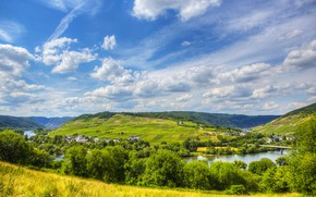 Picture summer, the sky, clouds, river, hills, field, Germany, Germany, Sinsheim