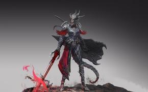 Picture Girl, Fantasy, Art, Style, Illustration, Sword, Armor, Figure, Character