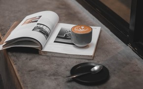 Picture coffee, Cup, book, journal