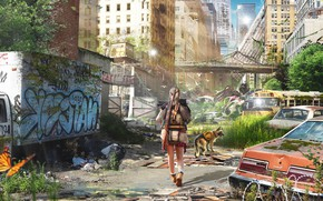 Picture Girl, Dog, The city, Machine, Machine, Destruction, Concept Art, Pavel Bondarenko, PAVEL BOND, by Pavel …