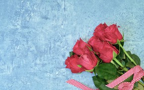 Picture background, blue, roses, pink, roses, bouguet