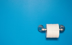Picture minimalism, blue background, simple background, Toilet Paper
