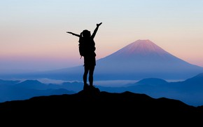 Picture girl, mountains, travel, silhouette