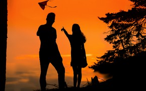 Picture girl, sunset, guy, silhouettes