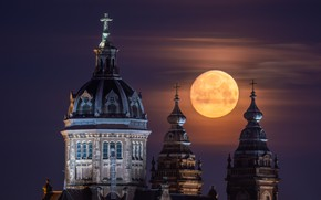 Picture the sky, the moon, building, cross, Amsterdam - My Home