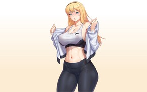 Picture kawaii, girl, sexy, Anime, pretty, lady, blonde, cute, workout, fitness, gym, tights, abs, thick, fit, …