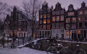 Picture winter, snow, trees, landscape, bridge, lights, river, people, rain, street, winter, view, Windows, building, home, …