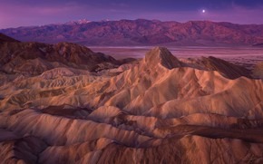 Picture the sky, mountains, rocks, hills, the moon, shore, tops, the evening, twilight, pond, relief, lilac