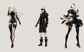 Picture background, girls, boy, characters, Nier Automata