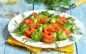 Picture plate, vegetables, tomatoes, cucumbers, salad