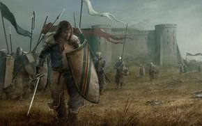 Picture sword, armor, cloud, man, ken, blade, flag, battle, castle, shield, warrior, medieval, pearls, spear, sly, …