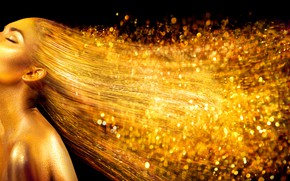 Picture girl, background, gold, black, makeup, model, Anna Subbotina