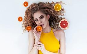 Picture look, girl, face, hair, hands, makeup, white background, curls, citrus, Anton Kharisov, Katrin Sarkozy