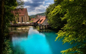 Picture the sky, clouds, trees, landscape, nature, river, home, Germany