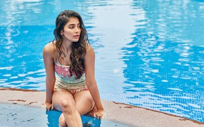 Picture girl, model, indian, actress, celebrity, swimming pool, bollywood, Pooja hegde