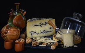 Picture cheese, dishes, nuts, mold