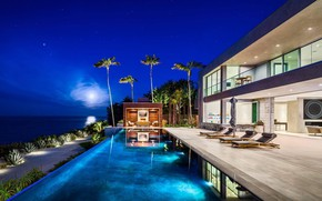 Picture the city, Villa, the evening, pool, House in Malibu