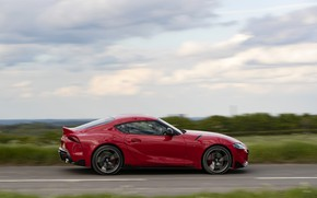 Picture road, red, movement, coupe, Toyota, Supra, the fifth generation, in profile, mk5, double, 2019, UK …