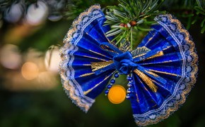 Picture winter, blue, holiday, Christmas, New year, bow, needles, bow, bokeh, Christmas decorations, Christmas decorations, Christmas …