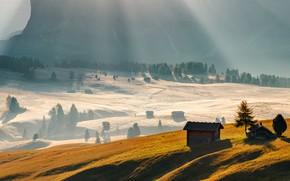 Picture rays, mountain, home, shadow, house, mountain, rays, shadow, Jan Šmíd