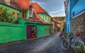 Picture the city, home, bridge, street, bikes, Romania, Transylvania, Sighisoara