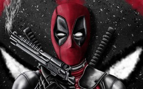 Picture weapons, guns, mask, art, costume, guy, comics, Deadpool, immortal, Deadpool