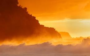 Picture sea, light, shore, wave