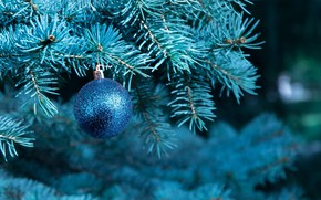 Picture branches, blue, holiday, Shine, ball, spruce, ball, Christmas, New year, tree, needles, bokeh, Christmas decorations, …