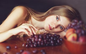 Picture look, girl, pose, model, hand, portrait, makeup, hairstyle, grapes, beauty, bokeh, Rus, lay down, at …