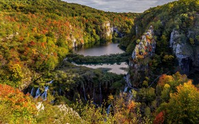 Picture autumn, forest, mountains, rocks, waterfalls, Croatia, lake, Croatia, Plitvice lakes, Plitvice Lakes National Park, National …