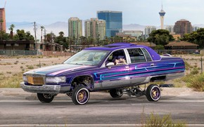 Picture Cadillac, Purple, Front, Side, Lowrider, Custom, Fleetwood, Modified