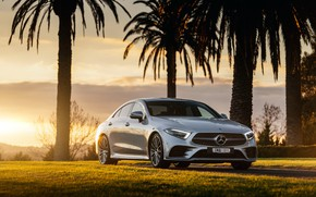 Picture sunset, Mercedes-Benz, CLS, sedan, 2018, 450, 4MATIC, AMG Line