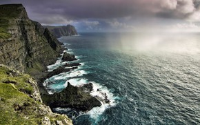 Picture the sky, water, clouds, clouds, nature, rain, overcast, the ocean, shore, rock